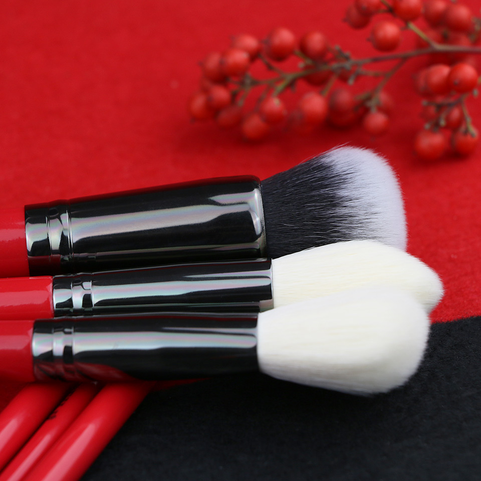 BEILI 6pcs Red Handle Makeupbrush Set Luxe Goat Hair Synthetic Pony Foundation Blusher Eyeshadow Highlighter Eyeliner Crease