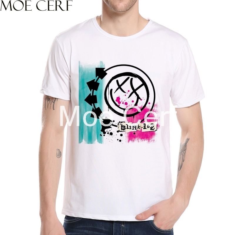 MOE CERF New Arrival Zombie Skull Blink 182 Album 1999 Design T Shirt Summer Short Sleeve Funny Boy Tops Punk Teen Tees L9-O-187