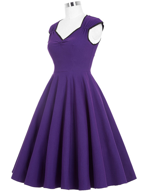 Women Dress 2016 Robe Vintage 1950s 60s Rockabilly Swing Summer Dresses Jurken Sexy V Neck Casual Purple Blue Tunic Vestidos