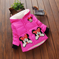 Hot Sale 2016 Winter Baby Girls Coats Kids Minnie Jackets Fashion Hooded Children Outdoor Parka Warm Flowers Cotton-padded Coats