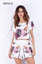 GOFALO New arrival 2017 Tops and Shorts 2 Piece Set Women O-Neck Beach Casual 3 styles Floral Short Sleeve Female Clothing Sets