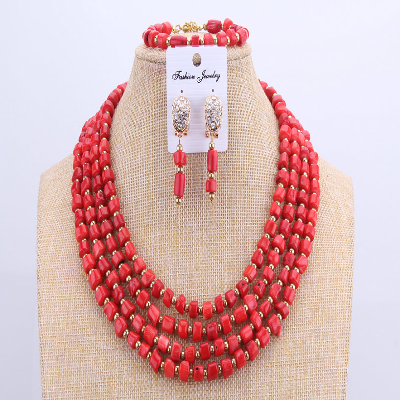 Orange Beads Sculpture Coral Red African Beads Natural Stone Jewelry Set Nigeria Bridal Wedding Jewelry 2017 Fashion New Design