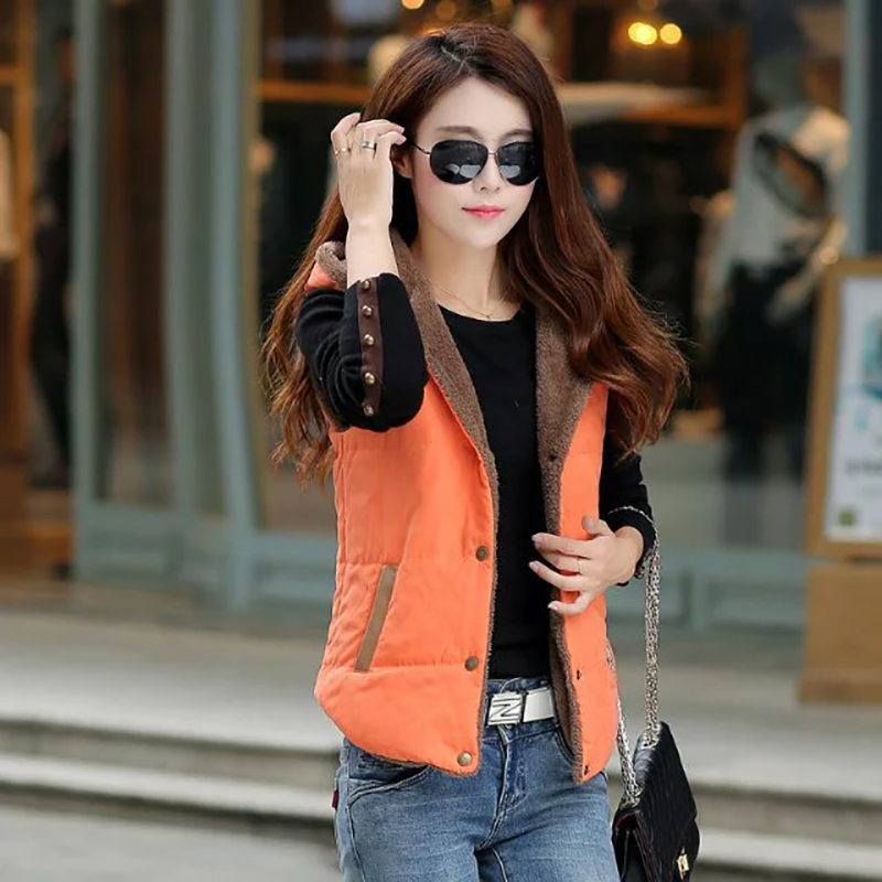 on sale sleeveless   parka   women outer wear inside velvet