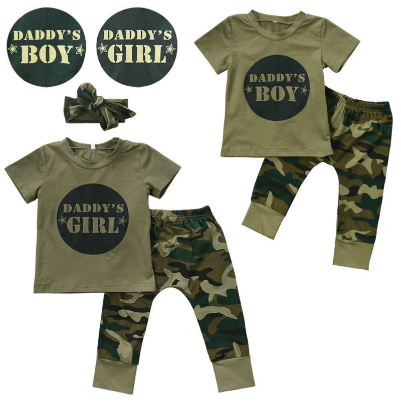 2017 New Camouflage Baby Clothes Daddy's Boy Girl Short Sleeve T-shirt Tops+Pant Outfit Toddler Kids Clothing Set 0-24M 2017 new fashion kids clothes off shoulder camo crop tops hole jean denim pant 2pcs outfit summer suit children clothing set