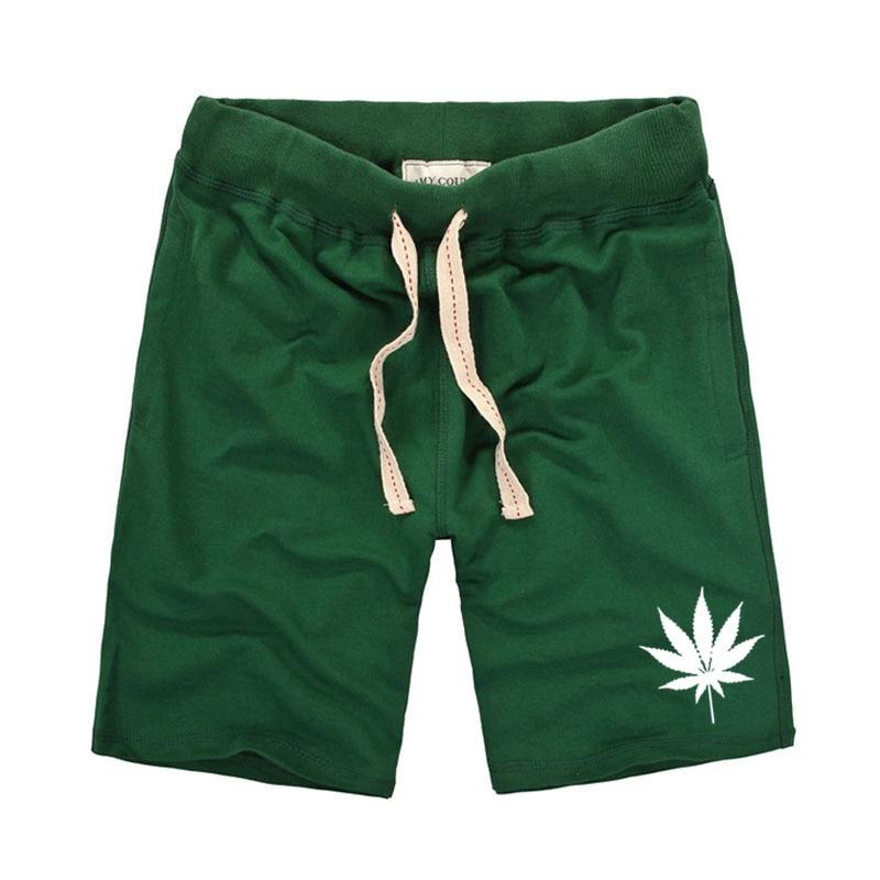 Beautiful Leaves Printing Mens Shorts Green Casual Home Wear Elastic Belt Summer Shorts Men Bikach And R Printed Travel Clothing