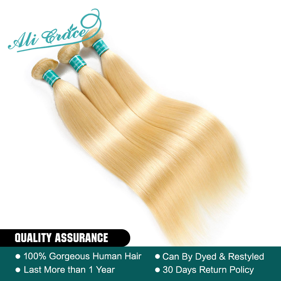 Ali Grace Hair Brazilian Straight Color Blonde #613 100% Remy Human Hair Weaving 3 Bundles Deal Hair Extensions(China)