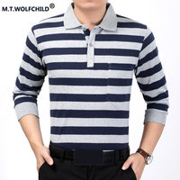M T WOLFCHILD 2017 New Mens Brand Long Sleeves Striped Lapel Polo Shirts Cotton Casual Mens