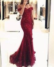 Off the Shoulder Long Dress Mermaid Evening Dress 2018 Lace Robe De Soiree longue Formal Dress недорого