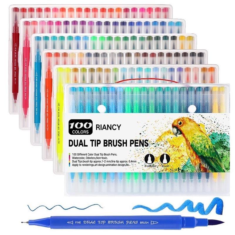 100PCS Colors Marker Pens Drawing Painting Watercolor Art FineLiner Dual Tip Brush Pen School Art Supplies 04371