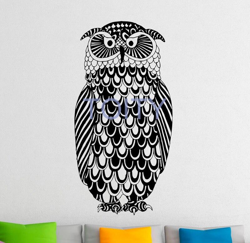 Сова Птица Черный Wall Art переводная наклейка винил наклейки для дома, комнаты декоративная разборная Фреска H110cm x W55cm/43,3 x 21,6