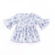 Summer Idyllic Ins Print Baby Girl Dress Cotton Mini Cute Floral Ruched Blue Abd Pink Party Dresses Princess Tops Spring  Outfit