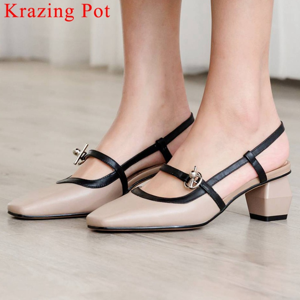 Krazing Pot natural leather med heels square toe slip on mixed colors gladiator women sandals beauty
