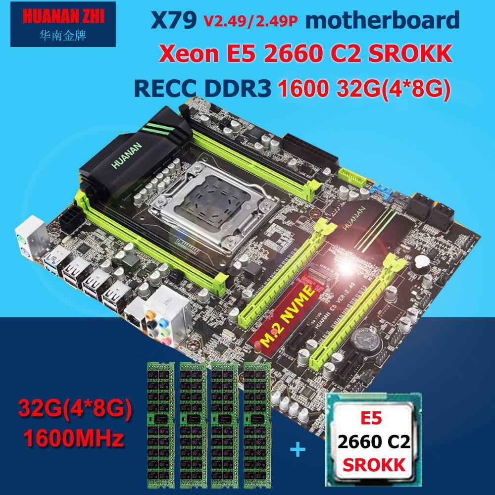 HUANAN ZHI X79 Placa base con M.2 ranura descuento placa base con CPU Intel Xeon E5 2660 C2 SROKK 2,2 GHz RAM 32G (4*8G) REG ECC
