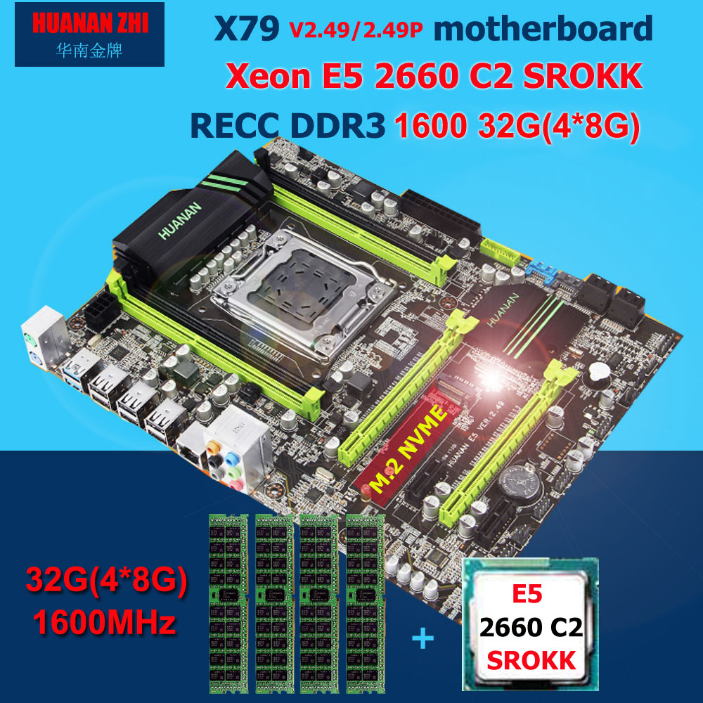 HUANAN ZHI X79 carte mère avec M.2 fente discount carte mère avec uc Intel Xeon E5 2660 C2 SROKK 2.2 GHz RAM 32G (4*8G) REG ECC