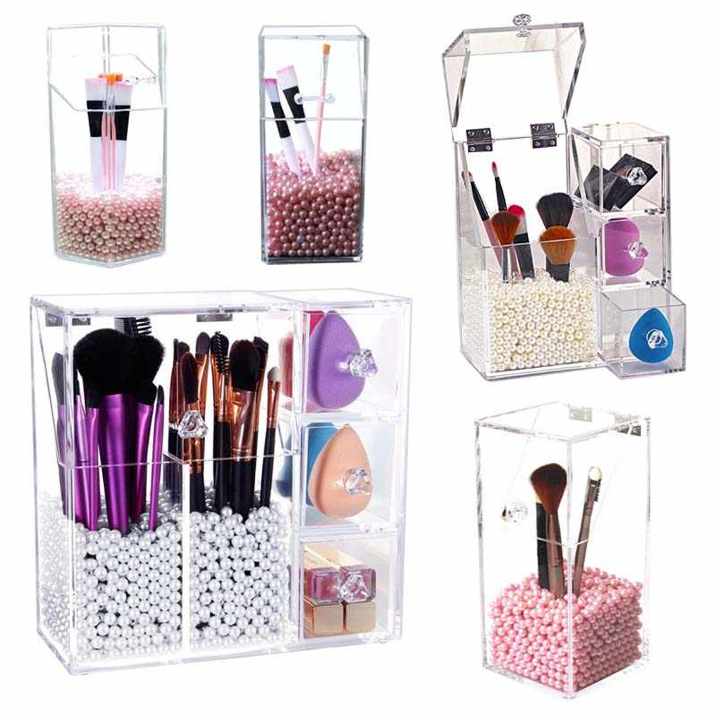 Multi-style PS Acrylic Makeup Organizer Cosmetic Holder Makeup Tools Storage Pearls Box Brush Accessory Organizer Box with Cover