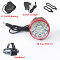 9*T6 12000 Lumen Head Front Lamp 9x XM-L T6 LED HeadLamp Bike Head Light +Rechargeable 6*18650 Battery + Charger+ Headband