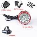 9*T6 12000 Lumen Head Front Lamp 9x XM-L T6 LED HeadLamp Bike Head Light +Rechargeable 6*18650 Battery + Charger+ Headband