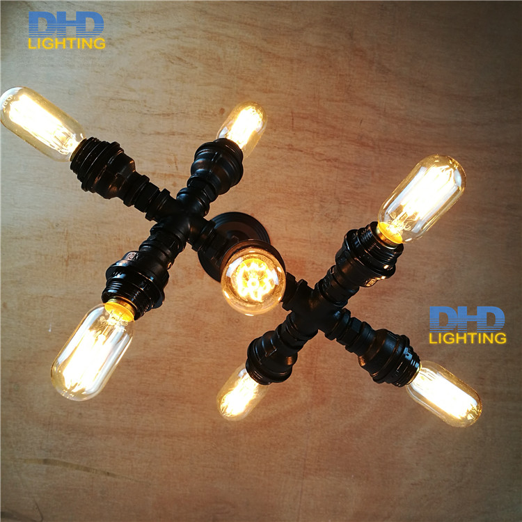 Free shipping Water Pipe Wall Lamp Vintage Aisle Lamp Loft Iron Wall Lamp Perfectly Matching E27 Edison Incandescent Light Bulb