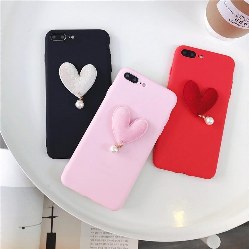 3D Luxury Case For OPPO R15 Case Cute Love Heart Pearl Coque For OPPO R15 Dream Mirror Case Soft Silicone Slim Cover