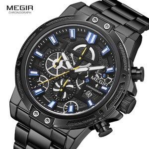 Image 3 - Megir 2019 Mannen Business Quartz Horloges Leger Sport Chronograph Horloge Man Top Merk Luxe Relogios Masculinos 2108 Zwart