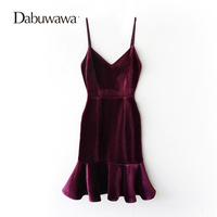 Dabuwawa Two Colors Winter Sexy Strap Dress Vintage Red Velvet Dress Ruffle Christmas Party Dress