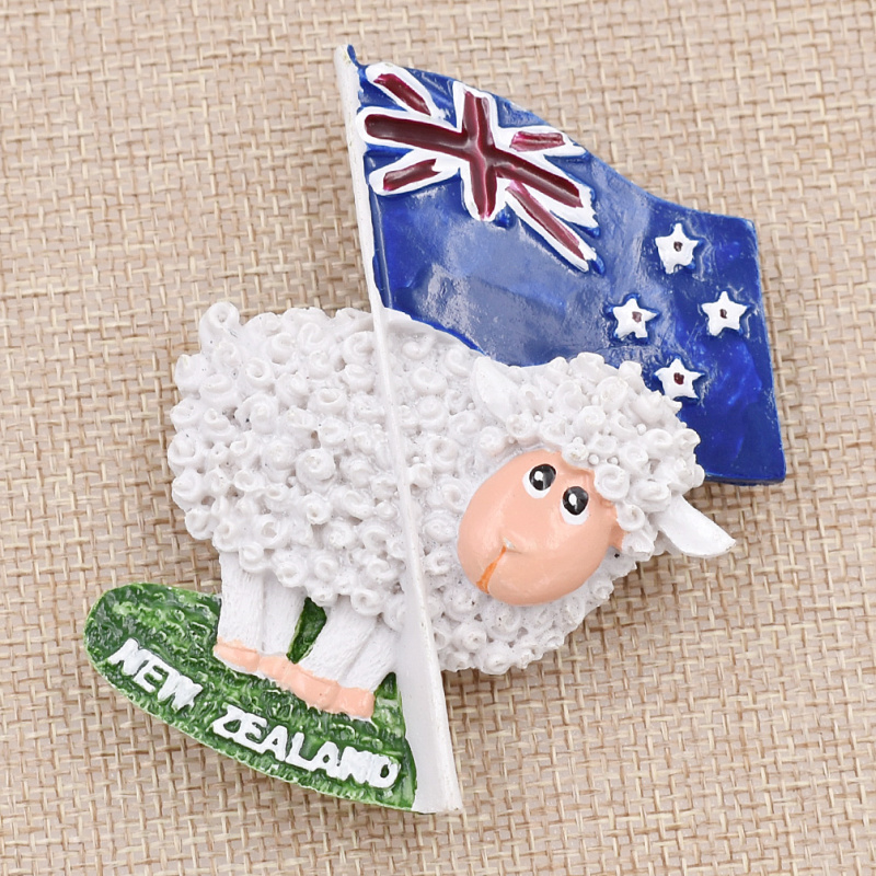 Resin Cartoon Sheep Refrigerator Magnetic Sticker <font><b>New</b></font> <font><b>Zealand</b></font> Flag <font><b>Fridge</b></font> <font><b>Magnet</b></font> <font><b>Souvenir</b></font> Home Kitchen Decoration image