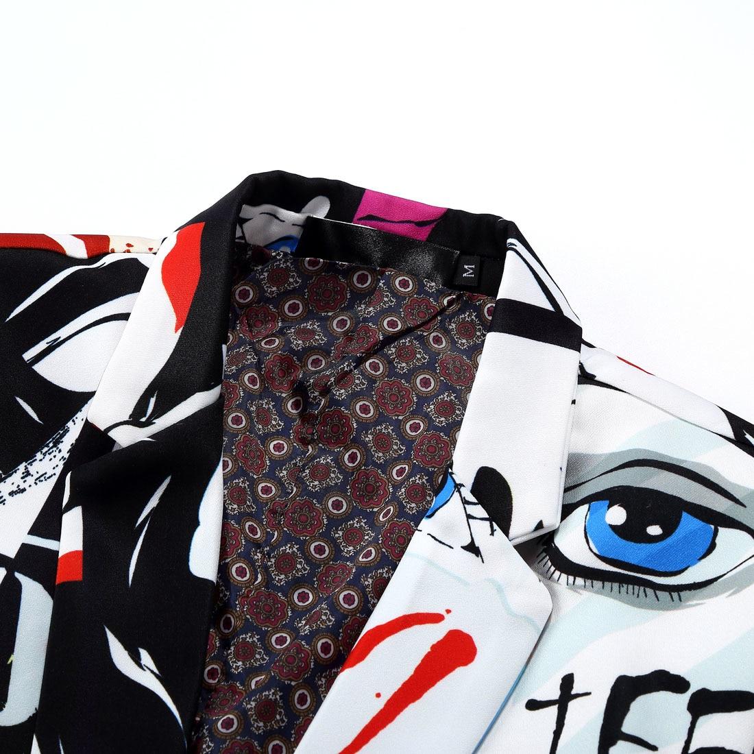 PYJTRL marque 2018 nouvelle marée hommes mode imprimé Blazer conception grande taille hanche décontracté mâle Slim Fit Costume veste chanteur Costume - 3