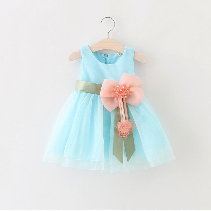 0 24M Flower Baby Girl Dress New Born Infantil Summer Dress Bow Sleeveless Cotton Christening Dress 1 Year Birthday Dress D35 in Dresses from Mother Kids