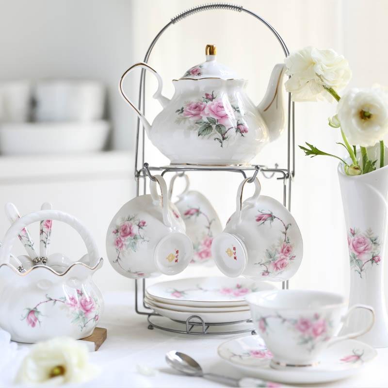 Europe luxury coffee cup teapot set Bone China porcelain British Afternoon tea set party Coffee Cup Mug teapot Wedding Gifts