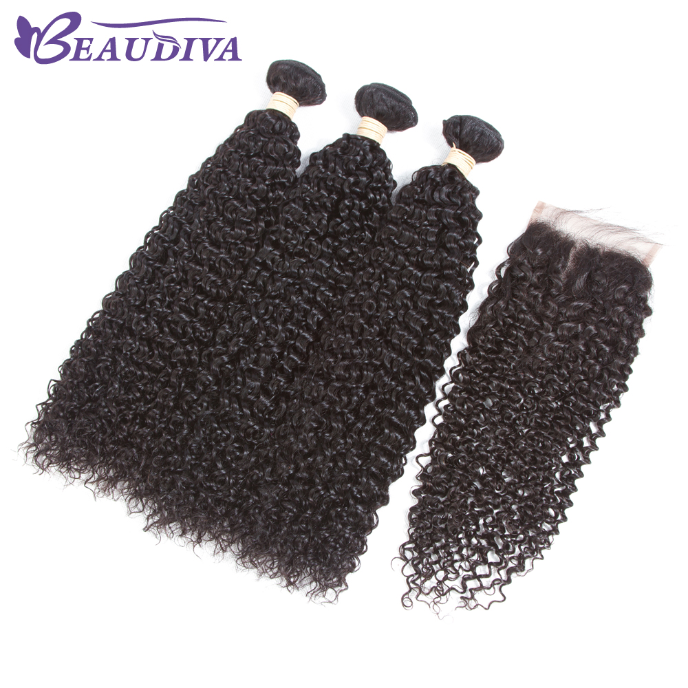 BEAUDIVA Hair Peruvian Kinky Curly Bundles With Closure Cheap Human Hair Bundles With Closure Peruvian Afro Kinky Curly Hair