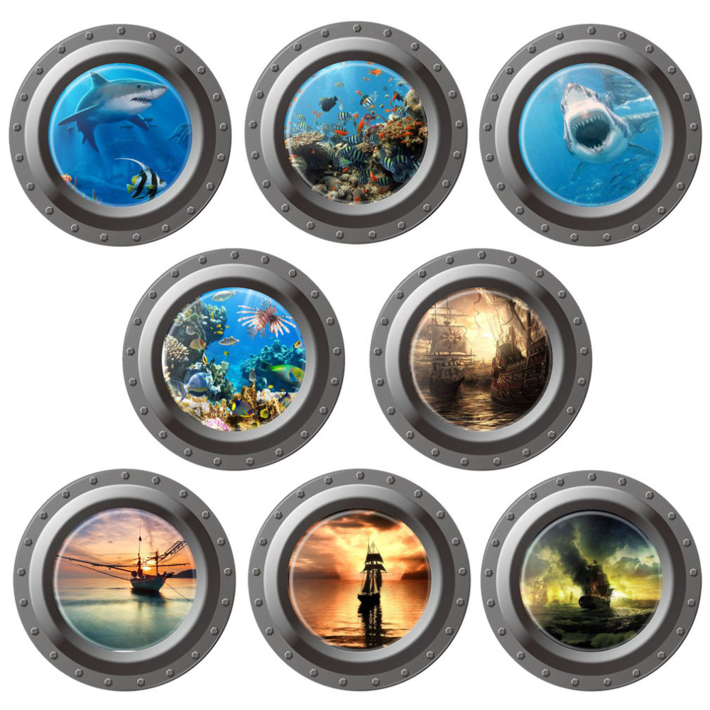 HOT New 3D Ocean View Porthole Wall Decals Sea Cruise Posters Mural Art Home Decor Peel Sticker Muursticker For Kids Room Z2 ...