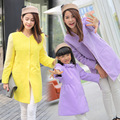 2017 New Winter Thick Woolen Cloth Coats for Mother and Daughter girl clothes Yellow and Purple color Cute family style Clothing