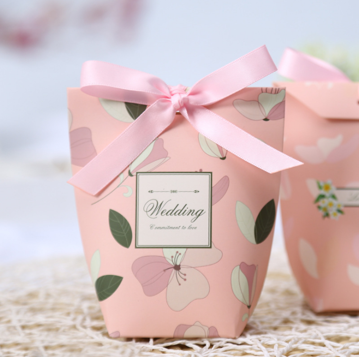 50 X European Green Leaves Gift Bags Wedding Favors Candy Boxes