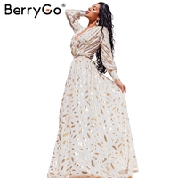 BerryGo Gold Feather Print Maxi Dress Women Side Split Robe Long Dress Party Female Maxi Dress