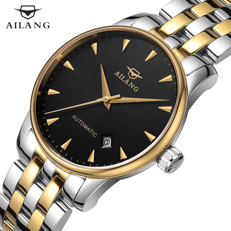 Top luxury brand Men watch Casual Business Waterproof Gold Stainless steel Wrist watch Men Calendar Automatic Mechanical Watch цена