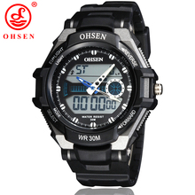 OHSEN Military Sport Watches For Men PU Watch Strap Waterproof Dual Time Digital-Watch relojes hombre AS68