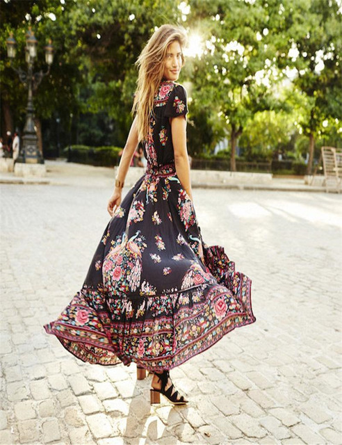 Vintage Boho Long Maxi Floral National Chiffon Dress
