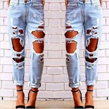 New Hip Hop Hole Denim Jeans Boyfriend Star Tearing Jeans Cowboy Trousers Ripped Pants Female Sexy Girls 2016 Hot Sale