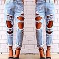 Nuevo hip hop denim agujero rasgado vaqueros pantalones vaqueros rasgados pantalones vaqueros novio estrella femenina chicas sexy 2016 de la venta caliente