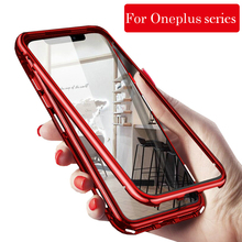 Magnetic Adsorption Phone Case for OnePlus 5T 6 6T 7 Pro Tempered Glass Back Cover Metal Cases For Oneplus 1+7