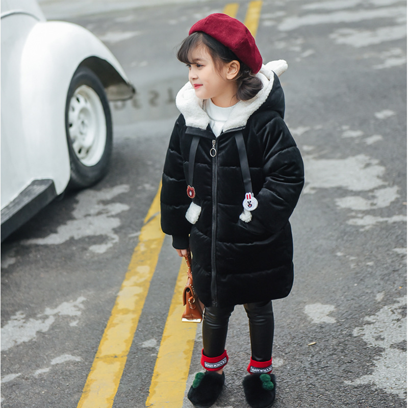 JKP 2018 Long thickened down cotton plus velvet 2018 ladies new coat female baby winter coat children Parkas Outerwear MF-28 thicken in the long paragraph down cotton padded 2018 girls jacket new korean female baby winter coat children s coat mf 28