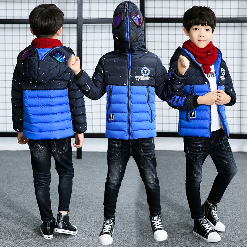 New Winter Kids Boys Parkas For Children Warm Coat With Glasses Teenage Boys Hooded Jackets For Kids Outerwear Children Jacket 2016 new warm children winter ski suits jackets for boys fleece coats fashion jacket for girls boys hooded kids outerwear coat