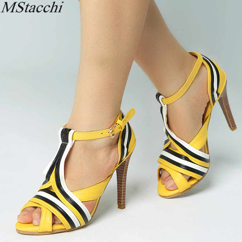 Mstacchi Marka Moda kadın ayakkabısı Kemer Tokası Roma Gladyatör Peep-toe Renk Çarpışma Patchwork Stilettos Yüksek Topuklu Sandalet