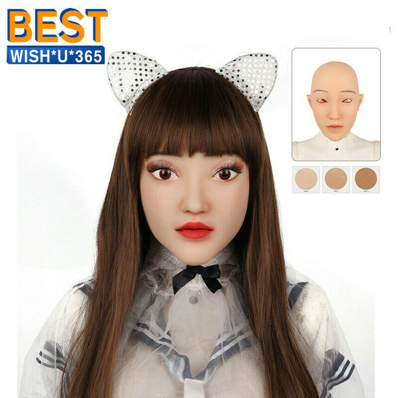 Silicone Realistic Female Head Mask Handmade Face For Crossdresser Transgender Drag Queen Halloween Cosplay  - buy with discount