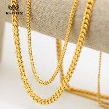 """Mens 3 mm / 5 mm de ancho sólido chapado en oro pequeño Miami Cuban cadena de eslabones acera 24 """" / 27.5 """" alta calidad Unisex Hiphop collar"""