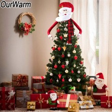 OurWarm Large Size Christmas Tree Topper Santa Claus Deer Snowman Decorations for Home Outdoor New Year Product