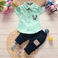 2016 new children's clothing baby summer suit children casual cotton short-sleeved shirt +pants sets 2pcs boys suit