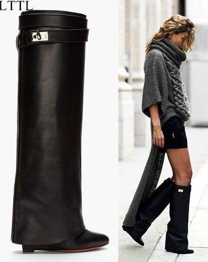 informazioni per c0918 ad892 LTTL Women Knee High Wedges Boots Fashion Tall Tube Booties ...