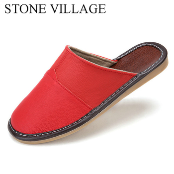 Plus Size 35-44 Genuine Leather Women Men Slippers Summer Home Slippers High Quality  Women Men Shoes Non-Slip Home Floor Shoes 2