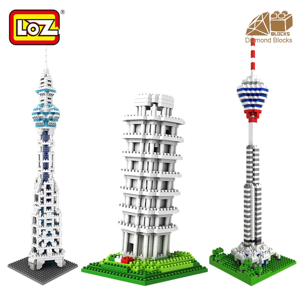 LOZ Architecture Famous Architecture Building Block Toys Diamond Blocks Diy Building Mini Micro Blocks Tower House Brick Street loz mini diamond building block world famous architecture nanoblock easter island moai portrait stone model educational toys